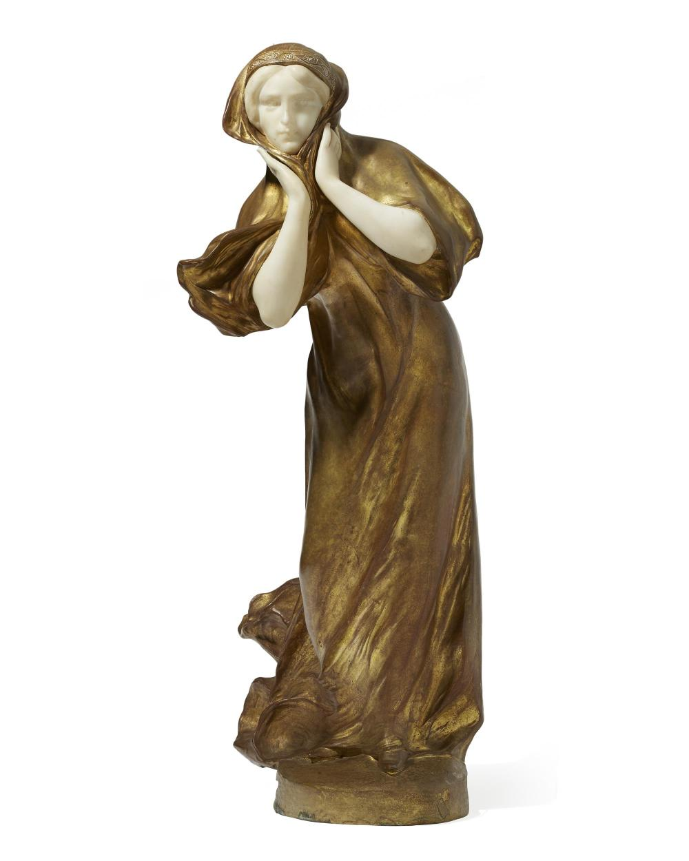 "Affortunato (Fortunato) Gory, (1895-1925 Italian/French), Walking woman, Gilt-bronze and alabaster, 26"" H x 11.75"" W x 9.5"" D"