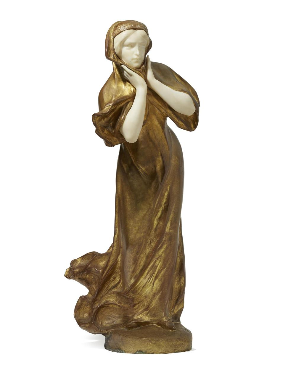 Affortunato (Fortunato) Gory, (1895-1925 Italian/French), Walking woman, Gilt-bronze and alabaster, 26
