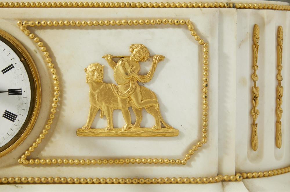 A Deniere France white marble and gilt-bronze clock set