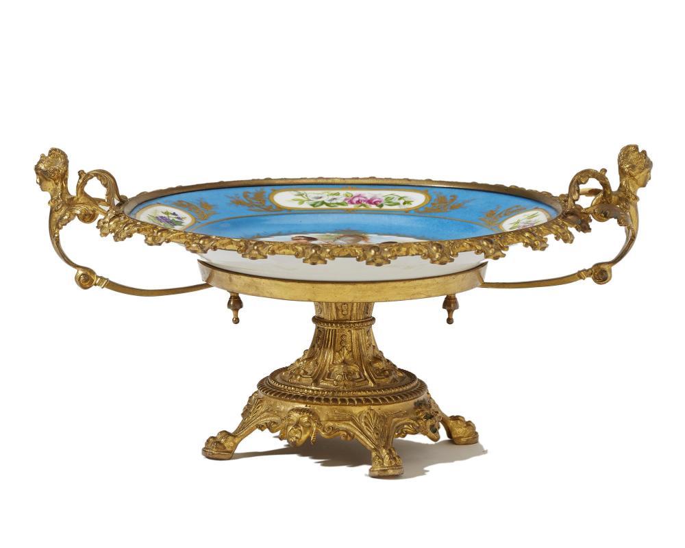 A French Sèvres-style gilt bronze-mounted porcelain centerpiece