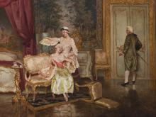 "Fabio Cipolla, (1852-1935 Italian), ""Chagrin D'Amore"", Oil on canvas, 18.5"" H x 23.5"" W"