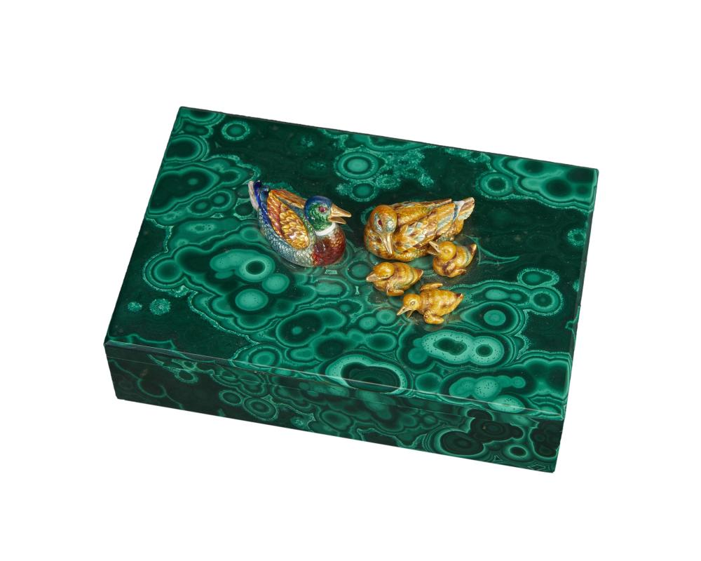 A malachite, gold, and enamel box