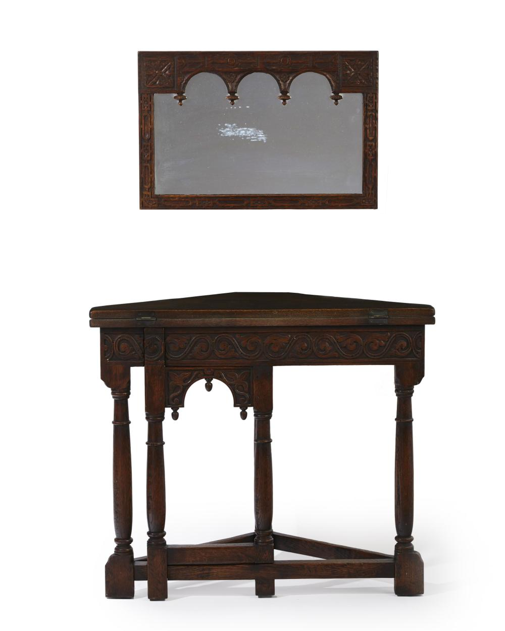 A Marshall Laird oak corner gate-leg table and wall mirror