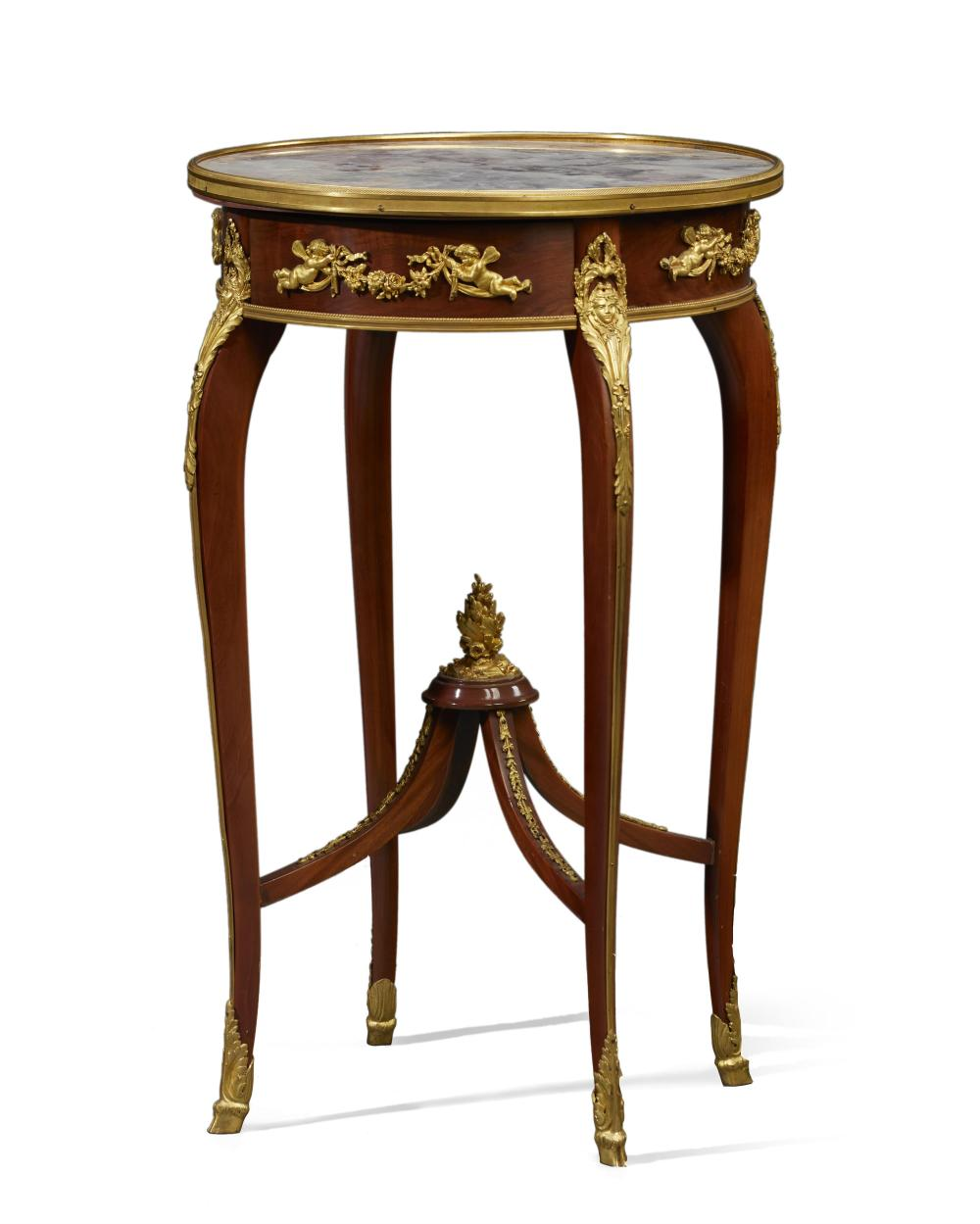A François Linke transitional marble and bronze gueridon table