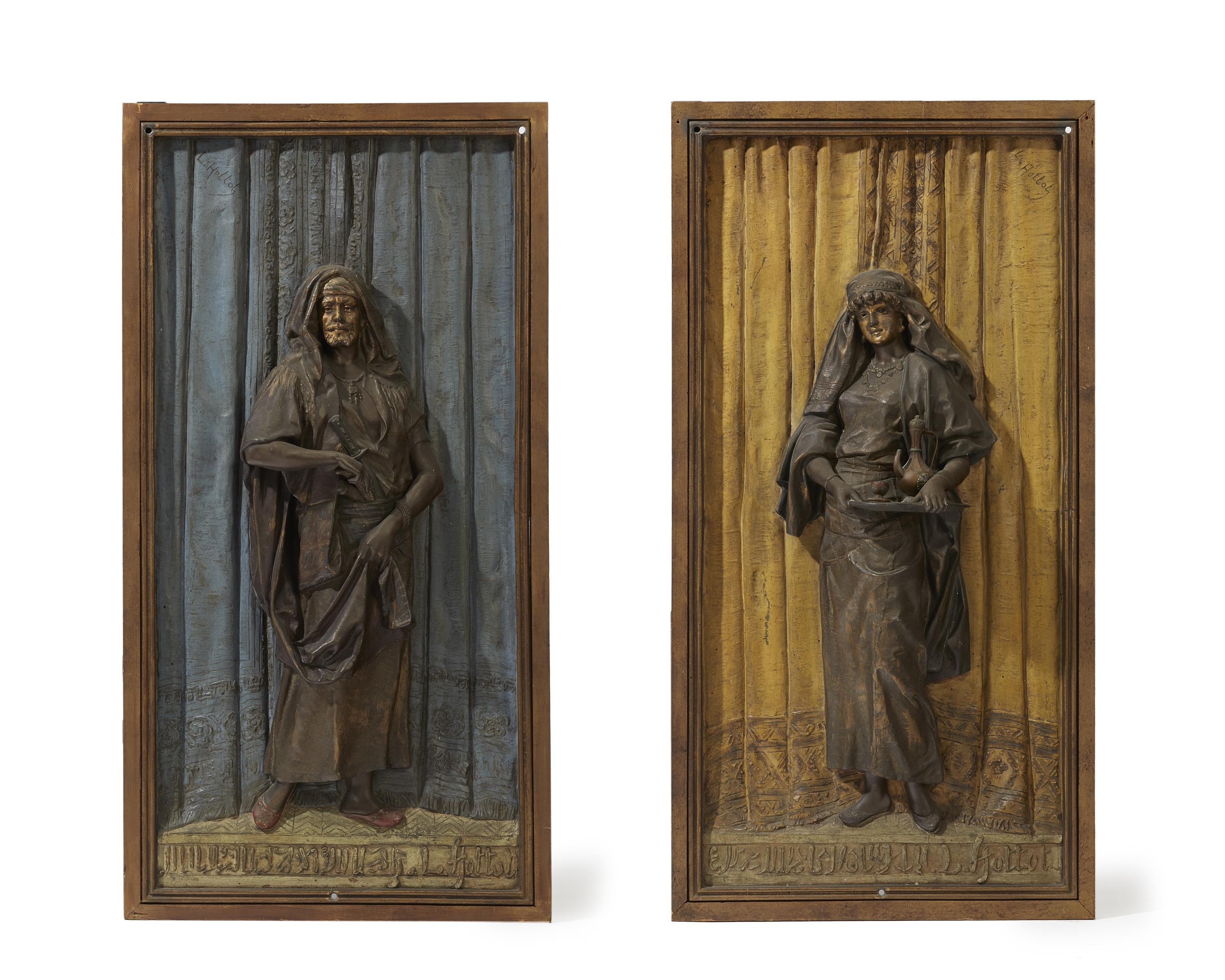 "Louis Hottot, (1829-1905 French), A pair of Orientalist wall plaques, Cold-painted bronze, Each plaque approximately: 23"" H x 16.5"" W x"
