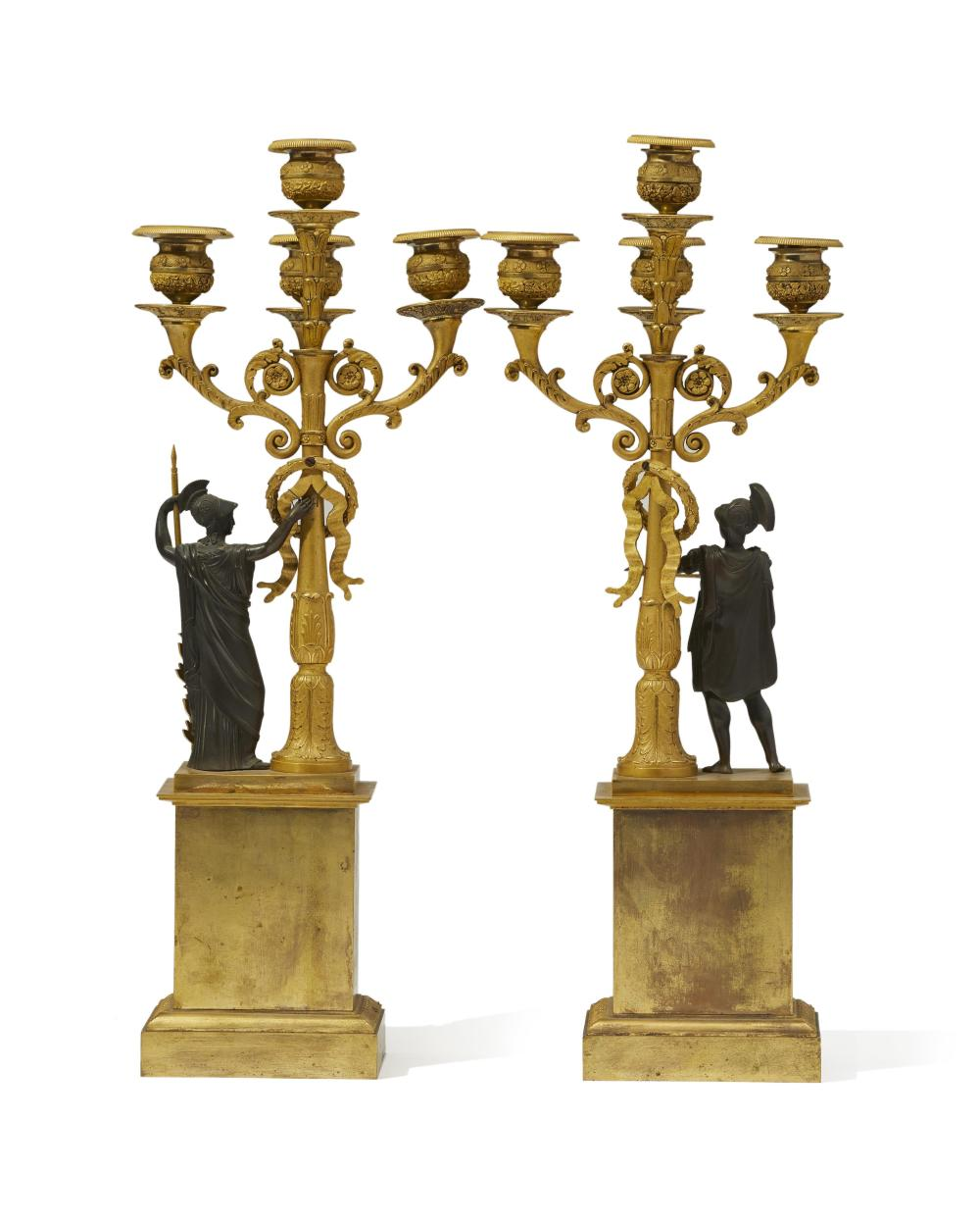 A pair of French Empire-style gilt-bronze figural candelabra