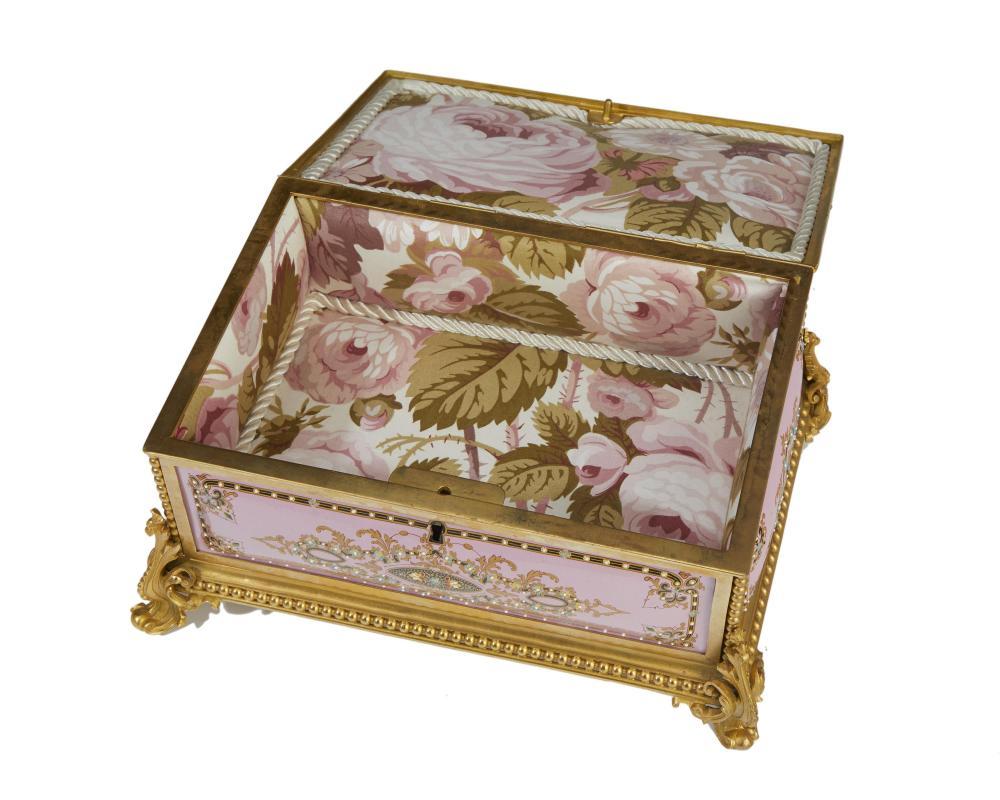 A gilt-bronze and enamel jewelry box