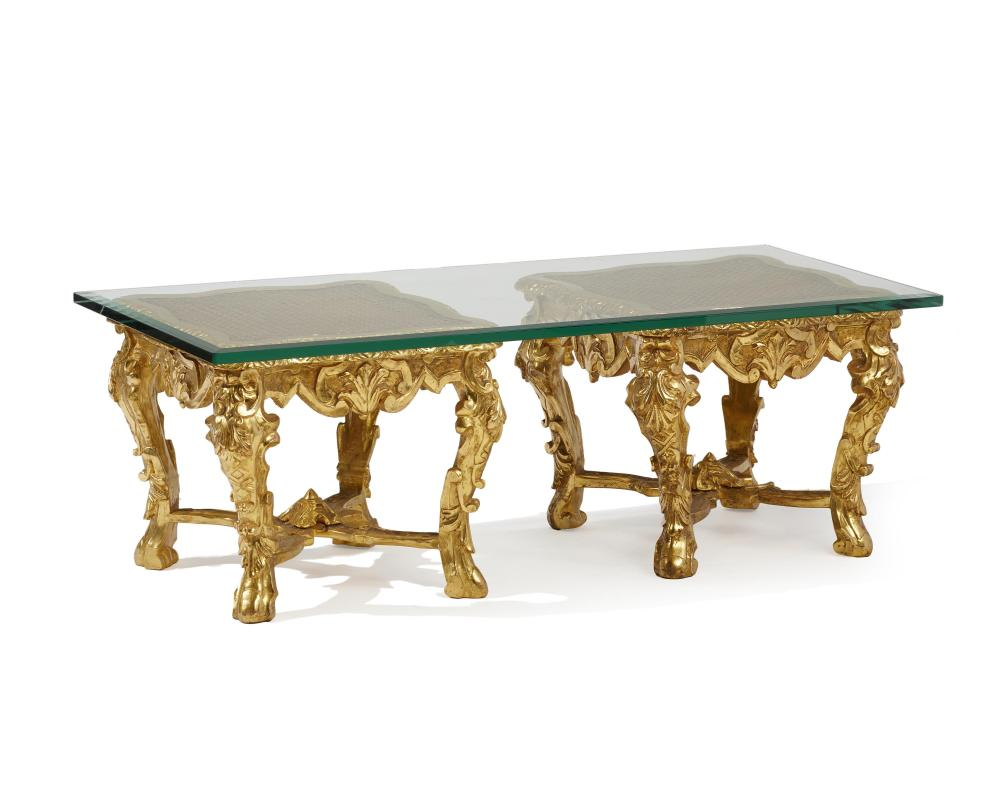 A pair of Italian giltwood stools with glass top