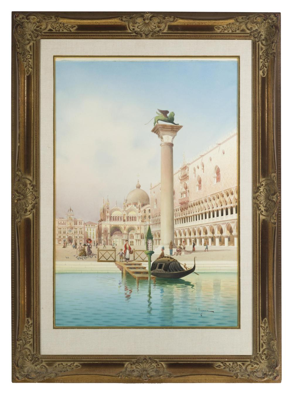 """Umberto Ongania, (1860/65-1896 Italian), Figures along a Venice waterway, Watercolor on paper laid to board under glass, Sight: 30.25"""""""