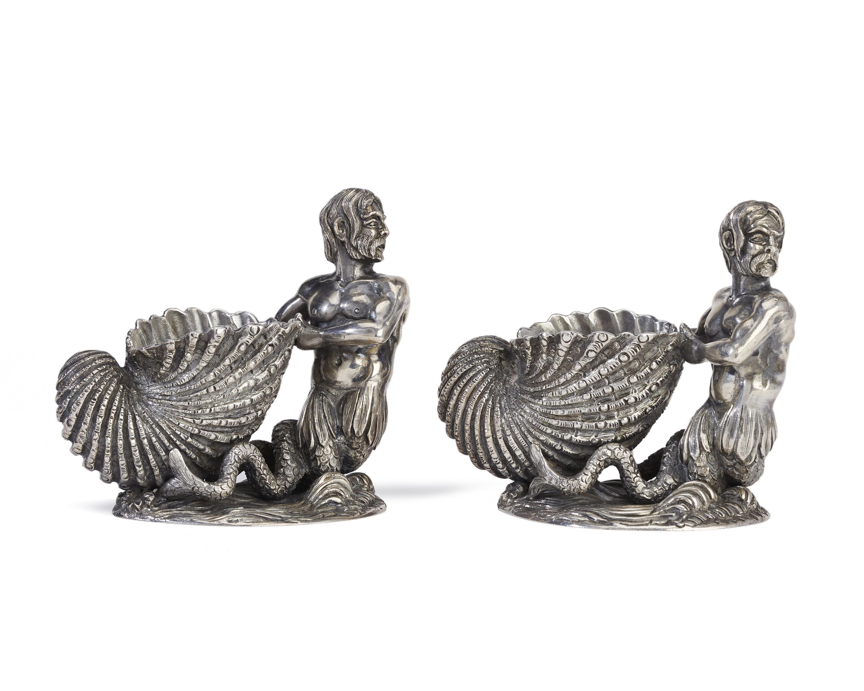 A pair of Buccelatti figural salt cellars