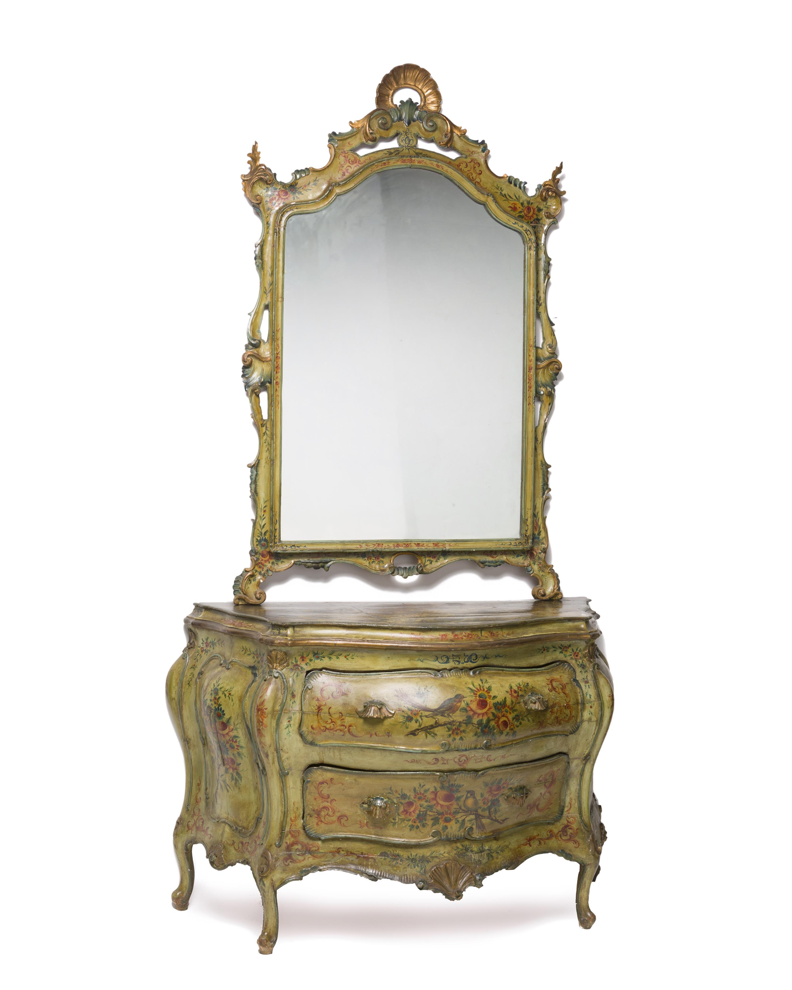 An Italian Rococo-style painted chest with mirror