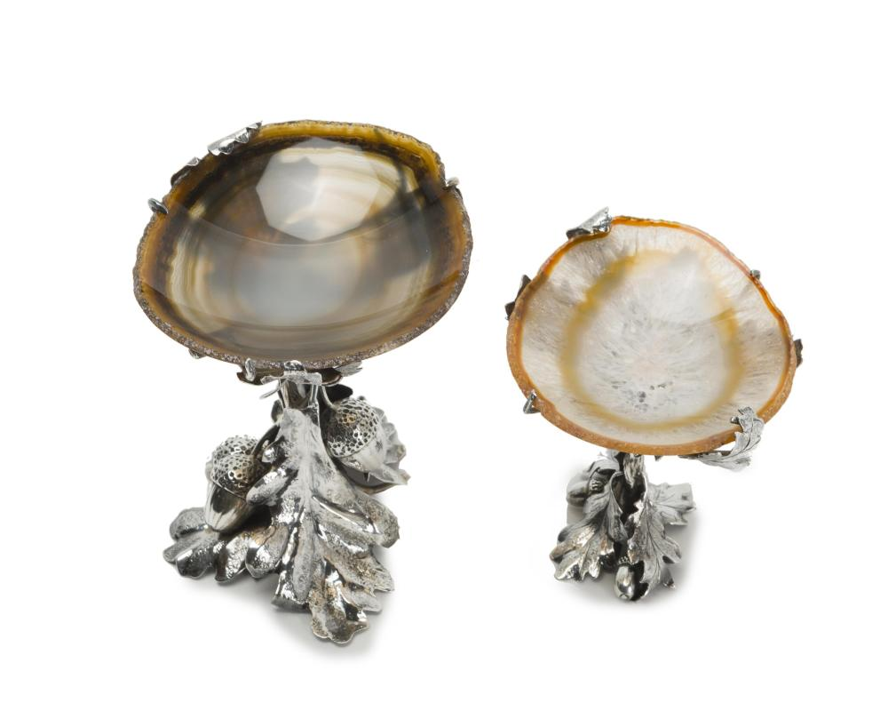 Two Buccellati sterling silver and agate tazzas