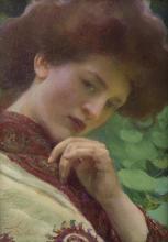"""Franz Dvorak, (1862-1927 Austrian), Woman in shawl, Oil on canvas, 13"""" H x 9.75"""" W"""