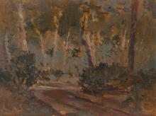 """Arthur-Dominique Rozaire, (1879 - 1922 Canadian), """"Interior Woodland Trail"""", forested landscape, Oil on panel, 10.25"""" H x 13.75"""" W"""