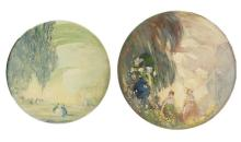 Arthur-Dominique Rozaire, (1879 - 1922 Canadian), Two works of impressionistic landscapes with figures in round frames, Each: Oil on bo