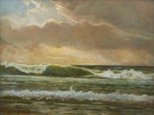 "Margaret Esther Rogers, (1872 - 1961 Santa Cruz, CA), Coastal with crashing waves, 1911, Oil on canvas, 12"" H x 16"" W"