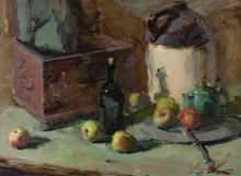 "Sergei Bongart, (1918 - 1985 Santa Monica, CA), Still life with jug, tea pot and fruit, Oil on masonite, 30"" H x 40"" W"