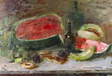 "Sergei Bongart, (1918 - 1985 Santa Monica, CA), Still life with watermelon, 1960, Oil on canvas, 24"" H x 40.25"" W"