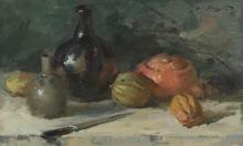 """Sergei Bongart, (1918 - 1985 Santa Monica, CA), Still life with gourds, vases and knife, Oil on masonite, 24"""" H x 40"""" W"""