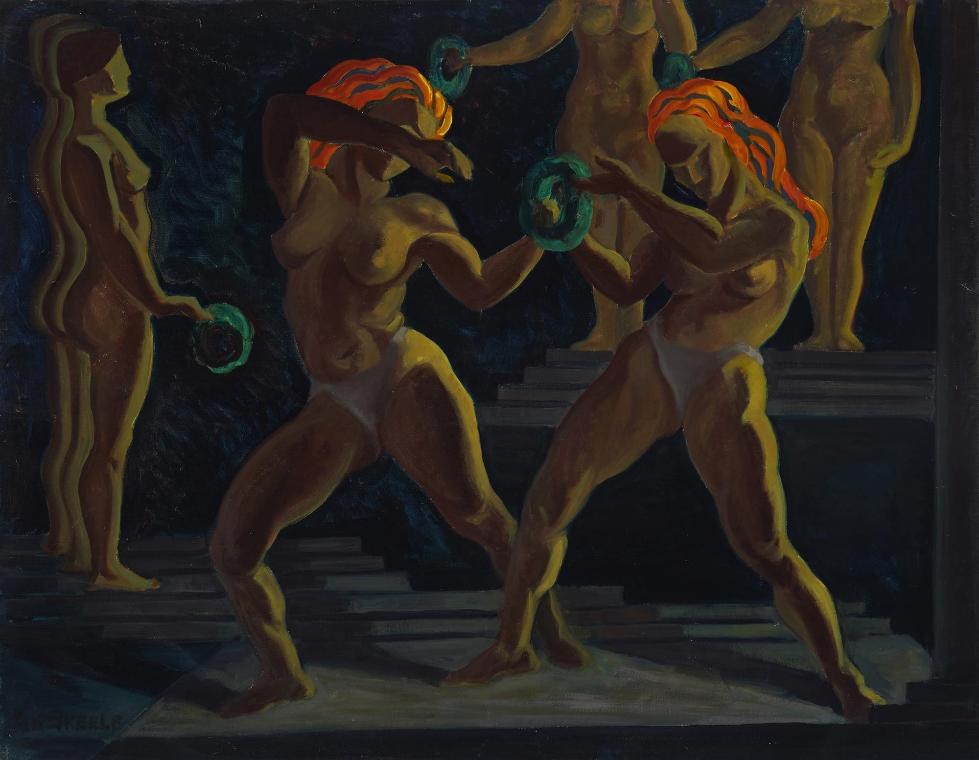 "Anna Katherine Skeele, (1896-1963, Pasadena, CA), Stylized female dancers, Oil on canvas, 26"" H x 34"" W"