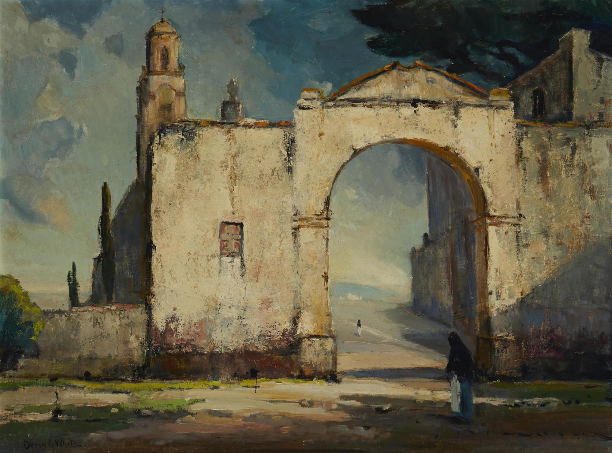 "Orrin A. White, (1883-1969, Pasadena, CA), ""Mission Gates"", Oil on masonite, 18"" H x 24"" W"