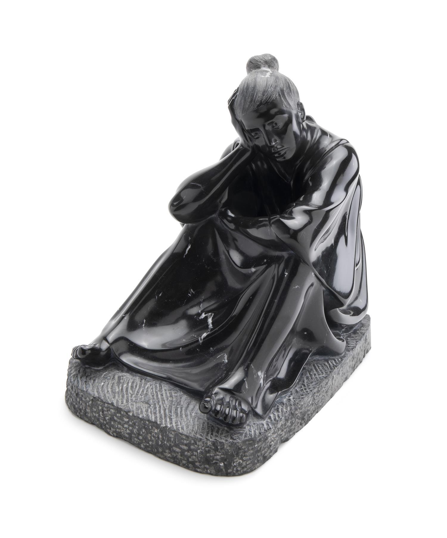 "Felipe Castañeda, (b. 1933, Mexican), ""Mujer en Reposo,"" 1982, Carved black marble, 15"" H x 10.5"" W x 16"" D"