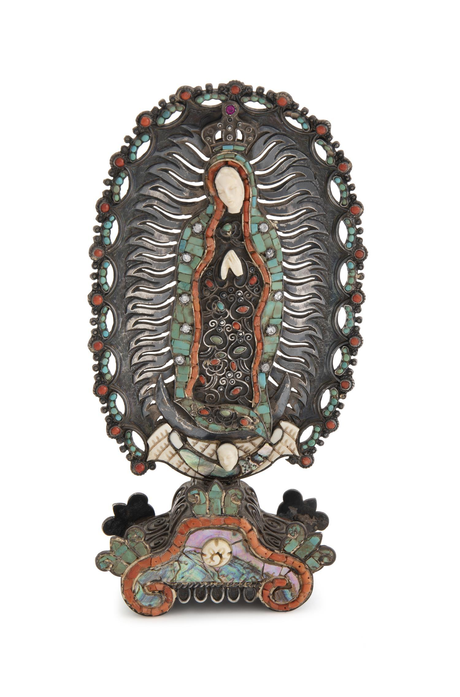 A Matl Virgen de Guadelupe silver santos figure
