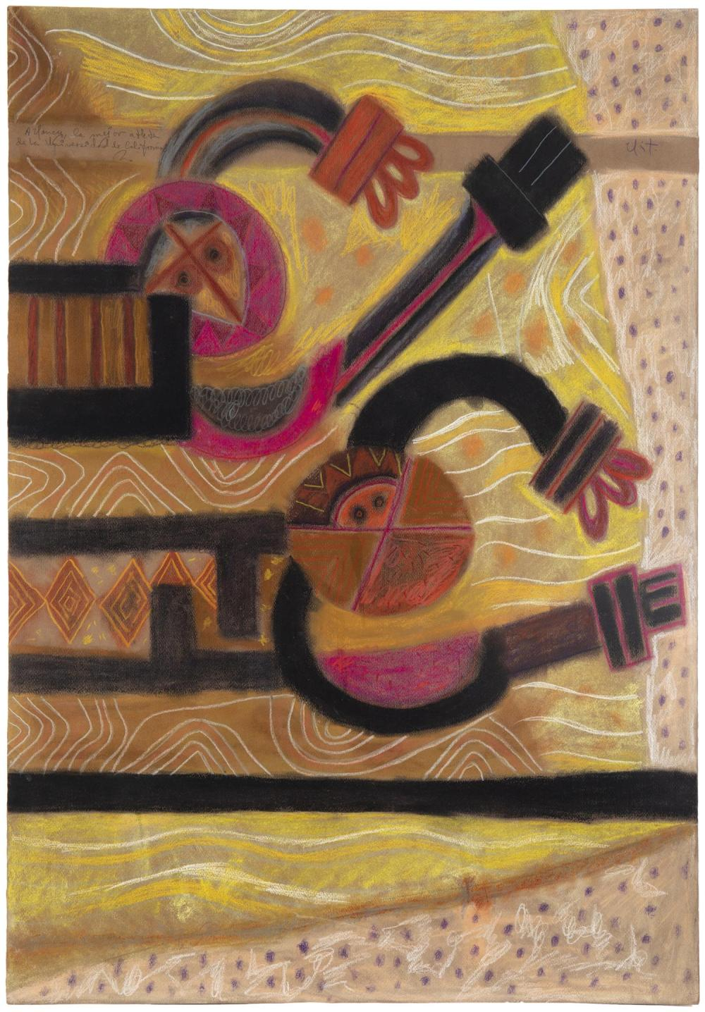 """Rodolfo Nieto, (1936-1985, Mexican), Untitled abstract, Pastel on paper, 39.5"""" H x 27.5"""" W"""
