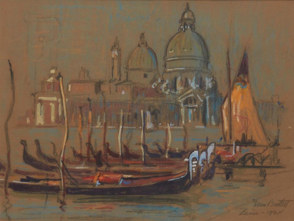 "Dana Bartlett, (1882-1957, Los Angeles, CA), ""Venice,"" 1924, Pastel on tan paper under glass, Sight: 9"" H x 12"" W"