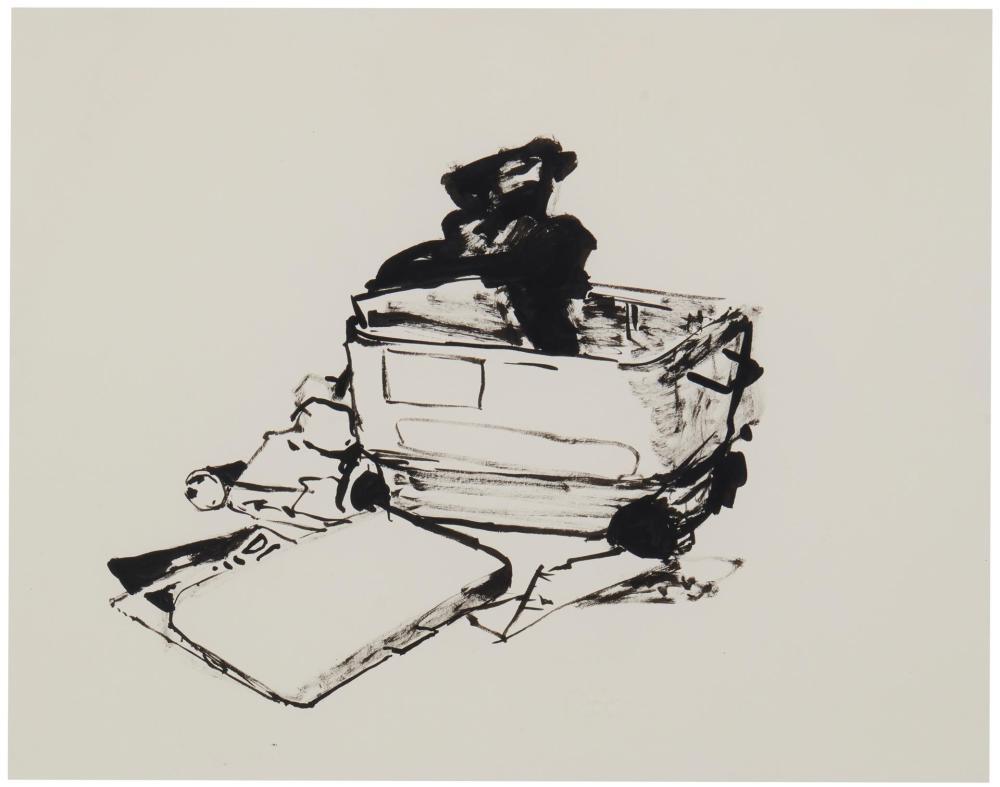 "Cheyney Thompson, (b. 1971, American), Untitled, from the ""Raft of Madusa"" installation, 2003, Ink on paper under Plexiglas, 11"" H x 14"