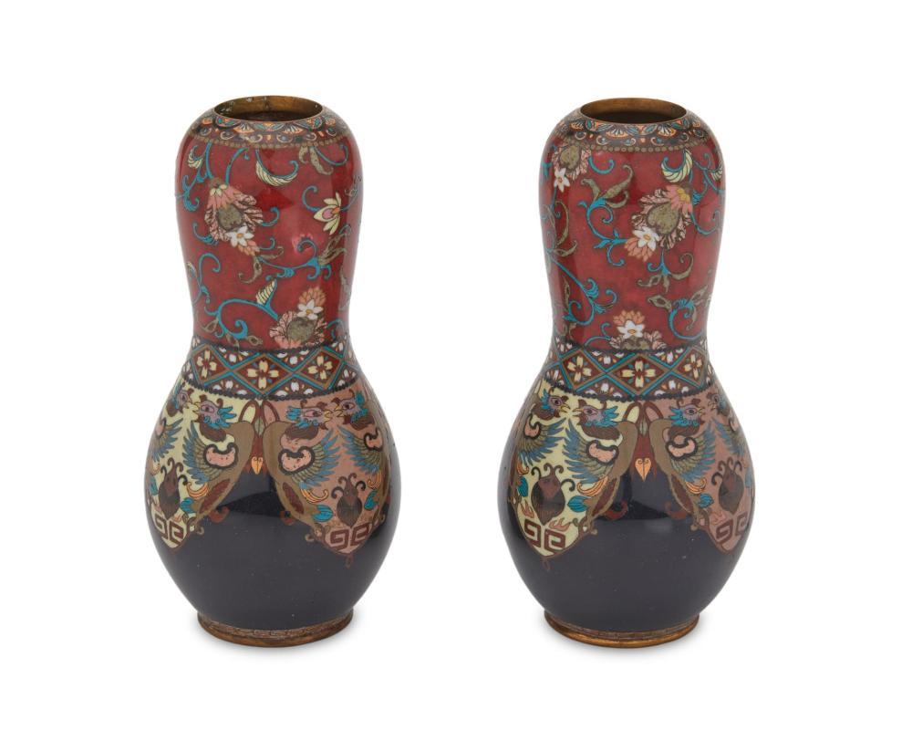 A pair of Japanese cloisonné gourd vases