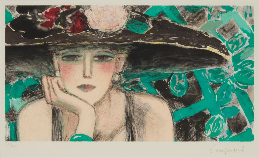"""Jean-Pierre Cassigneul, (b. 1935, French), Woman with floral hat, Color lithograph on paper under glass, Image: 11"""" H x 20"""" W"""