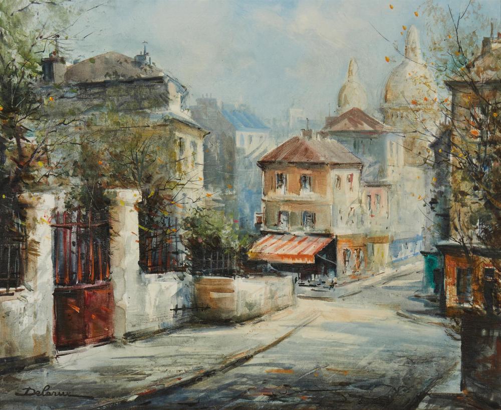 """Lucien Delarue, (1925-2011, French), Rue Norvins, Paris, Oil on canvas, 18"""" H x 21.75"""" W"""