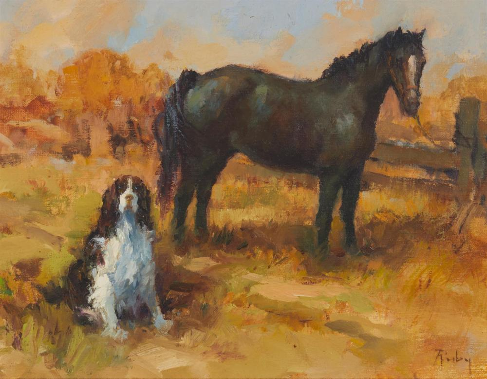 """Claire Ruby, (1925-2005, Hungarian/American), """"Waiting for the Master"""", Oil on canvas, 11"""" H x 14"""" W"""