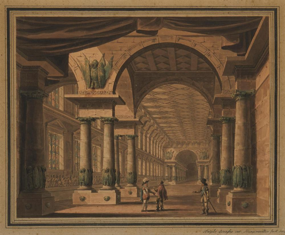 """Angelo Quaglio, (1778-1815, German), Architectural interior, Watercolor on paper laid to paper under glass, Sheet: 14.25"""" H x 17.5"""" W"""