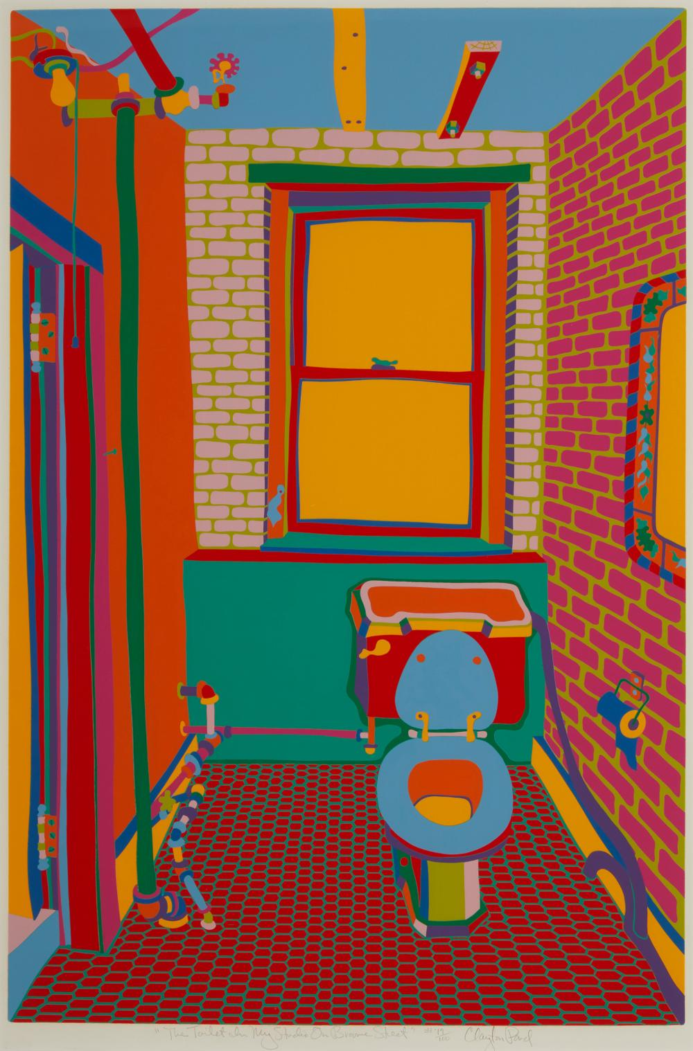 """Clayton Pond, (b. 1941, New York, NY), """"The Toilet In My Studio On Broome Street"""", Color screenprint on paper under glass, Image: 27"""" H"""