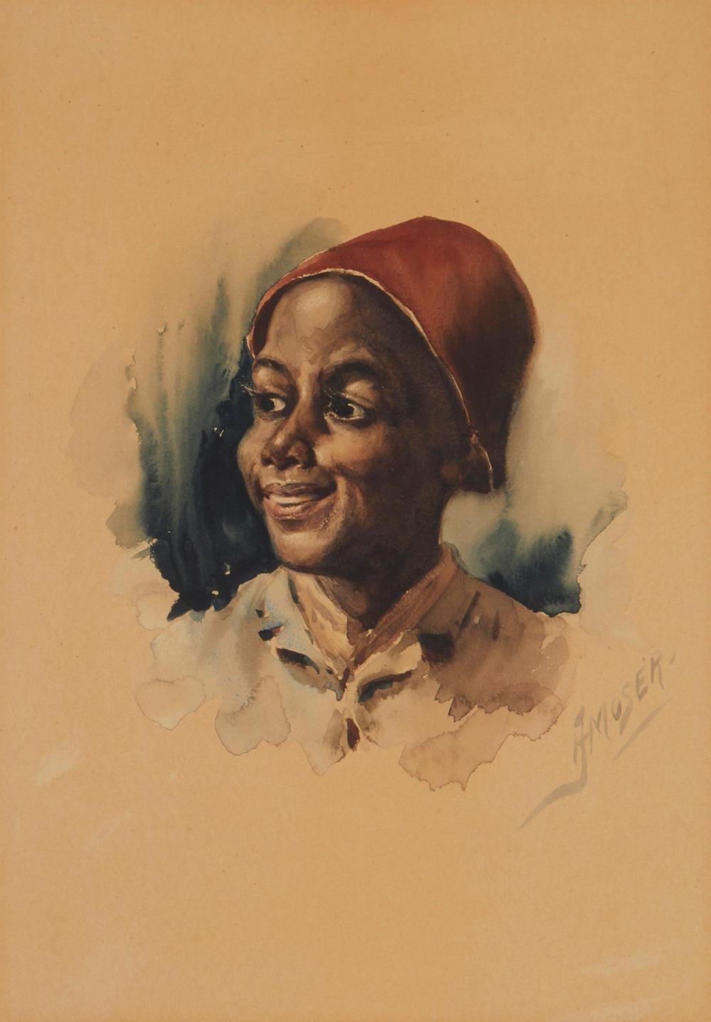 James Henry Moser, (1854-1913, Canadian/American), Portrait of an African American youth, Watercolor on paper under glass, Sight: 13.25