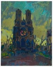 "Sergei Bongart, (1918-1985, Santa Monica, CA), Notre Dame de Paris, 1962, Casein on board, 40"" H x 32"" W"