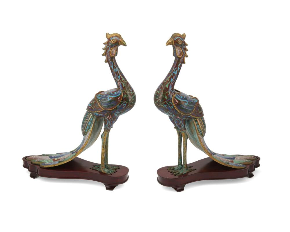 A pair of Chinese cloisonné peacock vessels