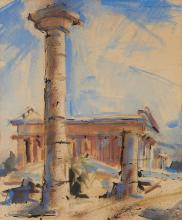 """Sergei Bongart, (1918-1985, Santa Monica, CA), Temples at Paestum, 1963, Watercolor and ink on paper under glass, Sheet: 25"""" H x 20.5"""""""