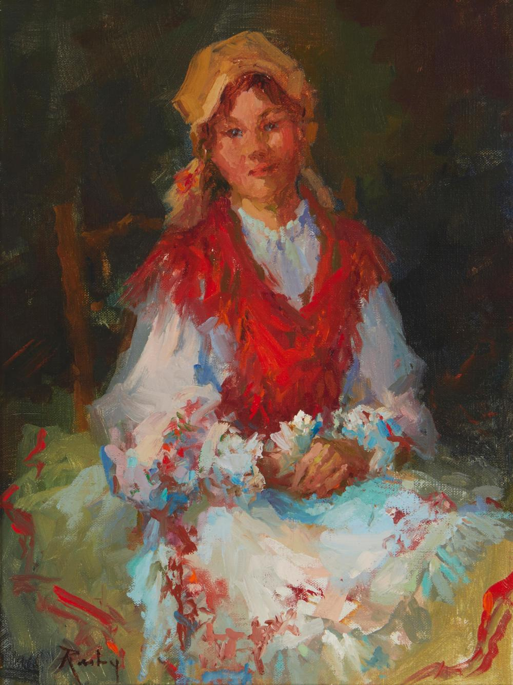 """Claire Ruby, (1925-2005, Hungarian/American), """"The Red Shawl"""", Oil on canvas, 12"""" H x 9"""" W"""