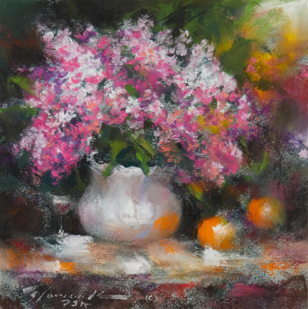 """Ramon Kelley, (b. 1939, Denver, CO), """"Lilacs and Oranges"""", Oil pastel on paper under glass, Sight: 6.5"""" H x 6.5"""" W"""