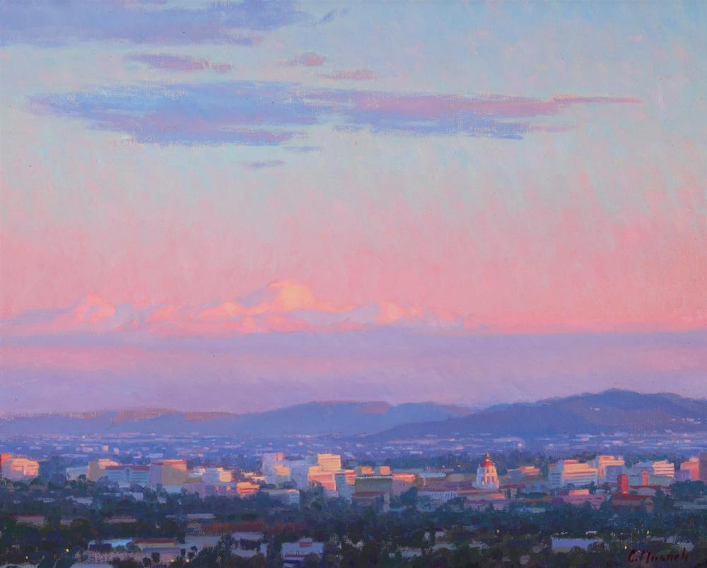 """Charles Muench, (b. 1966, Gardnerville, NV), """"View to Pasadena,"""" 2014, Oil on canvas board, 16"""" H x 20"""" W"""