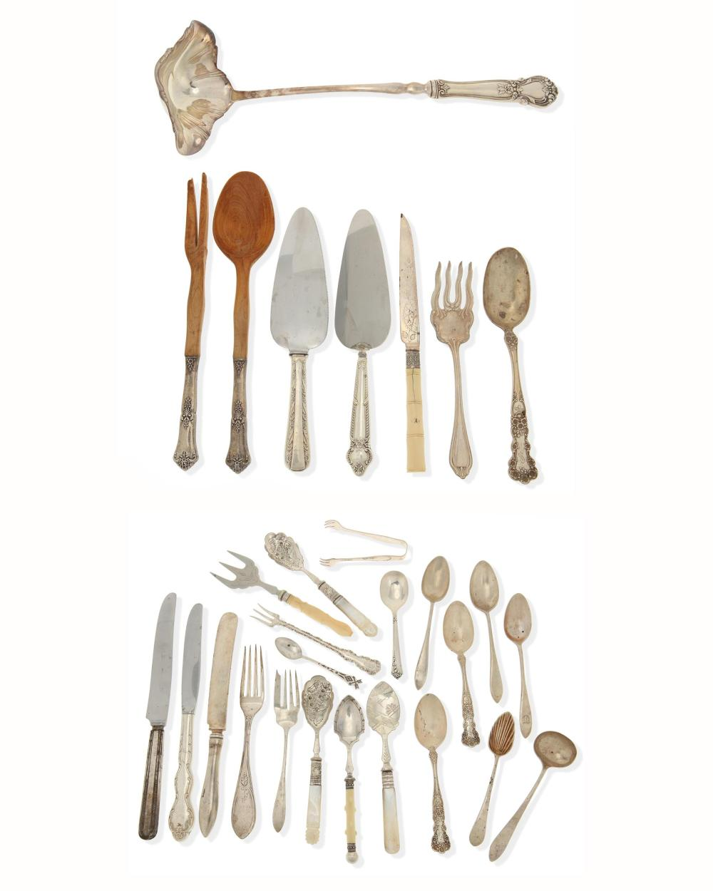 A group of sterling silver serving items