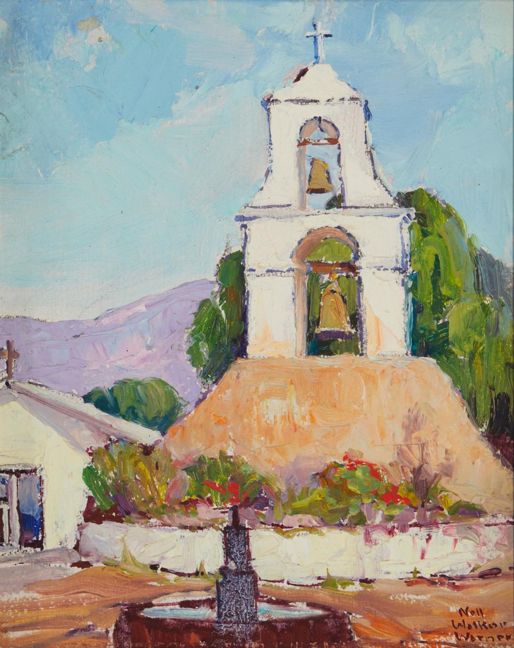 """Nell Walker Warner, (1891-1970, Carmel, CA), """"Pala Mission Tower"""", Oil on artist's board, 10"""" H x 8"""" W"""