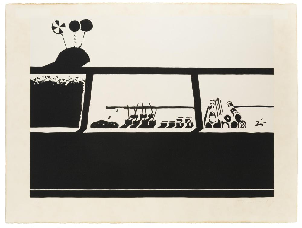"Wayne Thiebaud, (b. 1920 American), ""Candy Counter,"" 1970, from ""Seven Still-Lifes and a Rabbit,"", Linocut in black and cream on Arches"