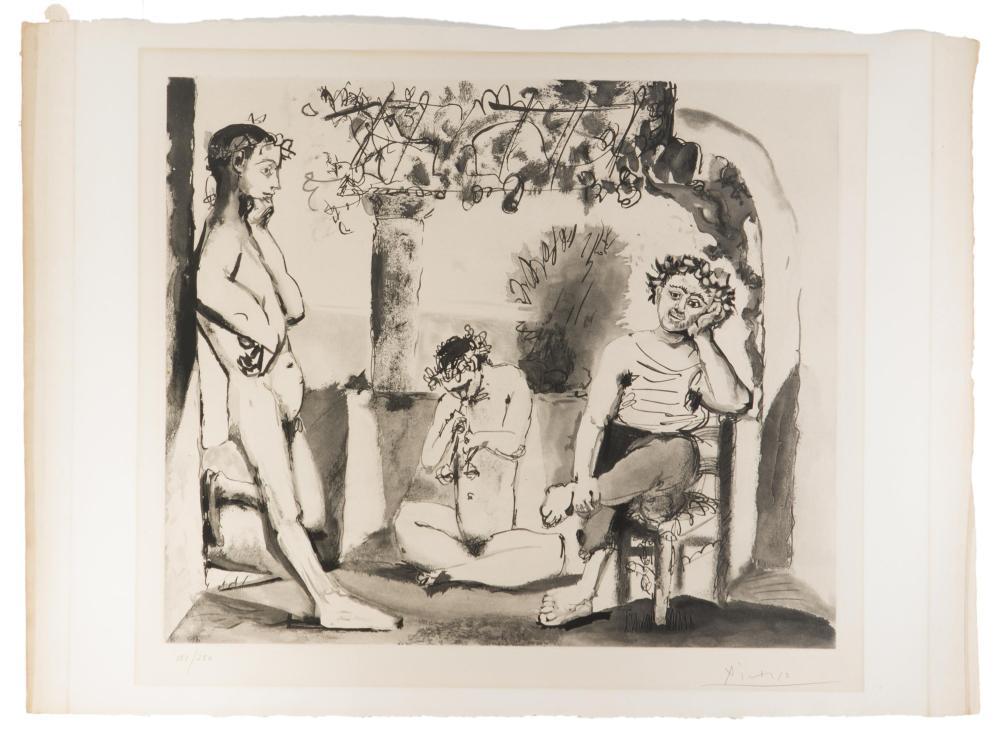 "After Pablo Picasso, (1881-1973 Spanish), ""Bacchanale,"" 1955, Etching and aquatint on Richard de Bas paper under Plexiglas; Attelier Cr"