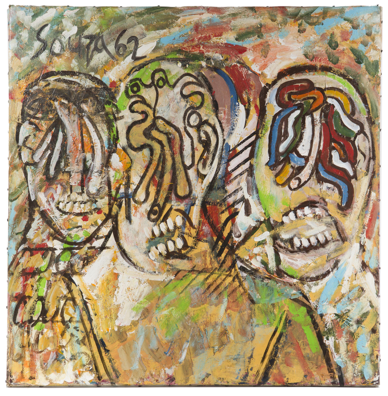 "Francis Newton Souza, (1924-2002 Indian), ""Three Men in a Drunken Haze,"" 1962, Acrylic on canvas, 29.25"" H x 29"" W"
