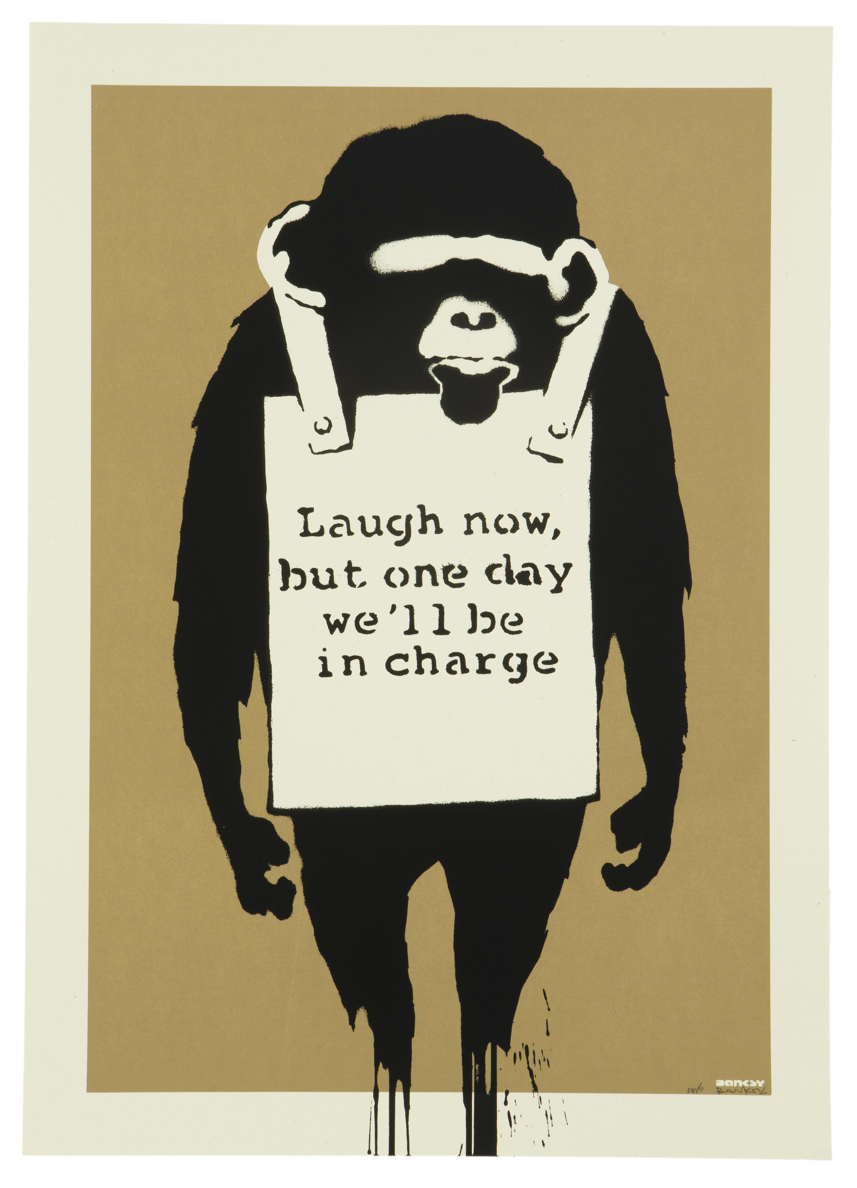 "Banksy , (b. 1974 British), ""LAUGH NOW,"" 2004, Screenprint in colors on wove paper under Plexiglas; Pictures on Walls, pub., and with t"