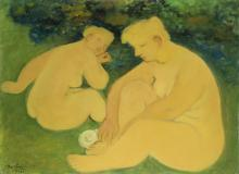 """Maurice Louis Savin, (1894-1973 French), Two seated nudes, 1962, Oil on canvas, 21.25"""" H x 28.75"""" W"""